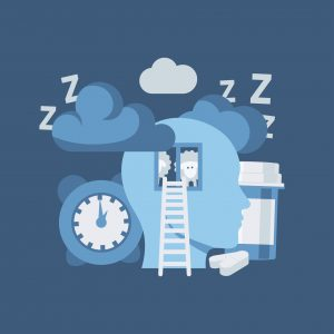 Insomnia vector concept in simple flat style