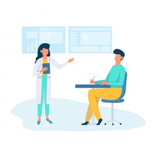 Woman in white gown training a man sitting at the table in the office. Business educational concept. Vector character illustration in flat style