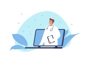 Vector modern flat online medicine banner template illustration. Doctor with stethoscope standing in laptop screen on fluid blue shape on white. Design element for web, hospital, clinic, infographic