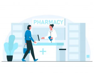 Pharmacy concept illustration. Smiling female pharmacist greeting visitor in a modern pharmacy interior. Vector illustration of woman coming to the pharmacy to buy medicines with the prescription