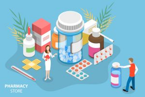Isometric Vector Conceptual Illustration of Pharmacy Store.