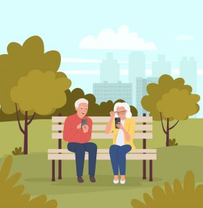 Elderly woman and man are sitting on the bench with smartphones in the park. Vector flat cartoon style illustration.