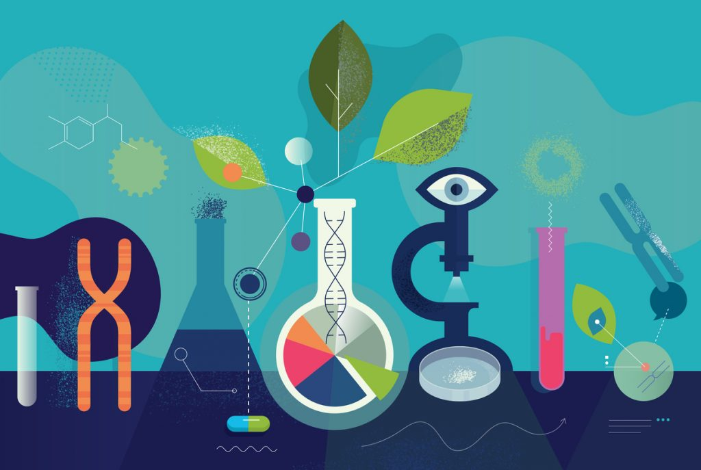 Clinical trial illustration, beaker, microscope, leaves, dna