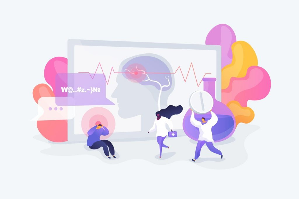 An illustrated image of medical professionals helping a stressed patient, image of brain and a beaker in background, header image