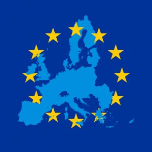 Blue vector map of European Union combined with 12 yellow stars of EU flag, header image