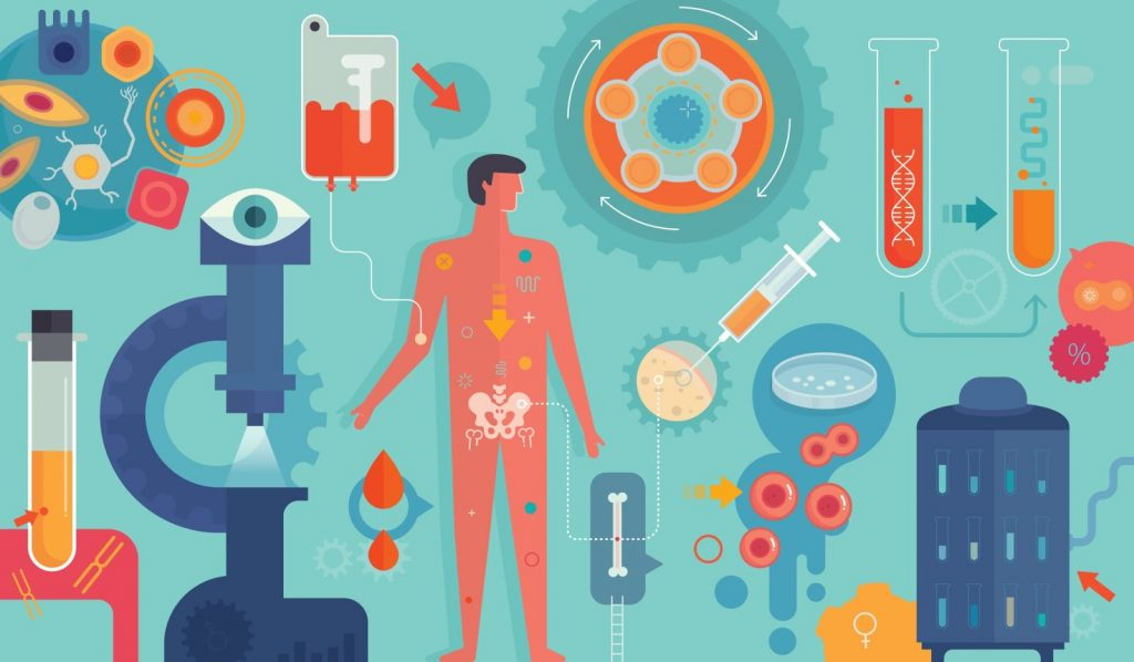 Illustrated image of a man surrounded by scientific tools like beakers, test tubes, etc., header image