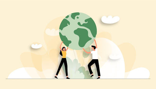 An illustrated image of a man and a woman holding up the earth on their hands, header image