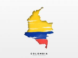 Colombia simple flag and map